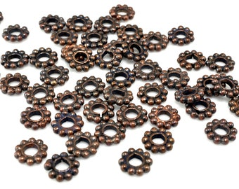 49 pcs -  6mm spacer beads copper plated for jewelry making