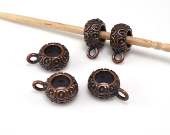 5pcs -  12x8mm Dark copper plated Bails for jewelry making, 5mm hole bails, large hole bails