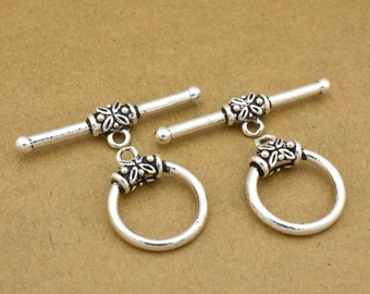 silver toggle clasps for jewelry making, Bali silver clasps for Bracelets, silver clasps for Necklaces Kumihimo findings supply,