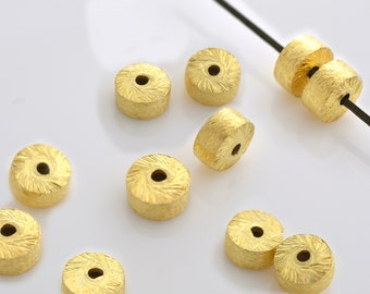 6mm - 8pcs Gold Vermeil cylinder beads, Spacer Beads, brushed barrel beads, gold plated drum beads made of solid 925 Sterling Silver