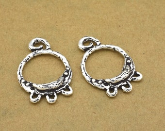 Silver Chandelier Earring Findings jewelry making Components Moon design Earring Findings antique silver plated, 2pcs boho hoops