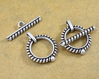 Bali Sterling Silver toggle clasps, antique finish Clasps for bracelets, jewelry closures for necklaces jewelry making, coil design  20x16mm