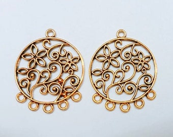 31mm Gold plated chandelier earring making parts, earring findings 2pcs