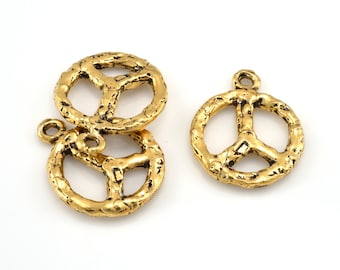 Peace pendant charm gold vermeil plated antique finish earring / pendant charms, 2 pieces, artisan handmade 20x23 mm
