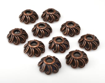 10 pcs -  9mm bead caps dark copper plated for jewelry making