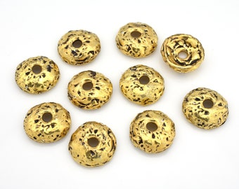 Artisan Bead caps, Gold plated antique bead caps for jewelry making, Organic bead caps, Rustic bead caps - HANDMADE - 2mm hole / 10mm / 4pcs