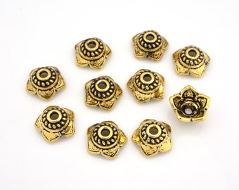 9mm (10) Real Gold Plated Bali bead caps for jewelry making, vermeil findings, flower design for bracelets & necklaces, Beading supplies