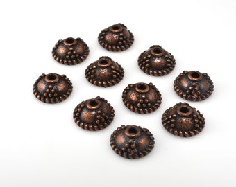 10 pcs -  7mm bead caps Dark copper plated for jewelry making