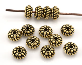 10pc Gold Plated Beads - Bali Style Antique Gold Spacer Beads - jewelry making spacers - 8mm