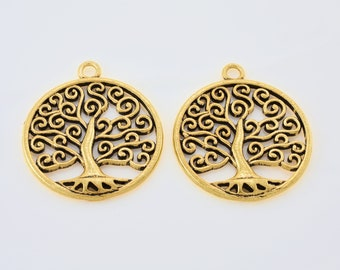 34x30mm Gold tree of life pendant charm, antique Gold plated pendants 2 pieces