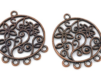 31mm Copper chandelier earring making findings, dark antique finish earring parts 2pcs