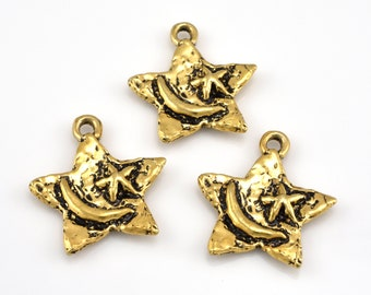 Gold Star Moon charms pendant large Gold plated Celestial Pendant Artisan handmade Findings 2pcs / 24x20mm