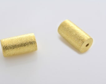11mm - 2pcs Gold Vermeil cylinder beads, Spacer Beads, brushed barrel beads, gold plated drum beads made of solid 925 Sterling Silver beads