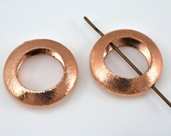 21mm - 2pcs Copper brushed finish round frame beads, 21mm outer and 12mm hole