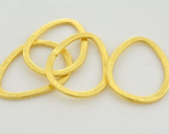 28mm - 4pc Drop Shape Gold plated Brushed Texture Loop Connector Links, pear shape jewelry making findings