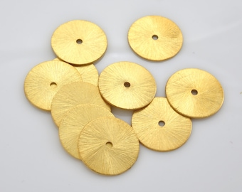 18mm (5) brushed gold washer beads, flat spacer beads, brushed for jewelry making findings supply