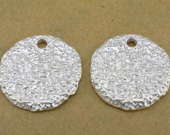 2 Silver plated flat disc charms, artisan handmade rustic disk charms with hole 17mm round