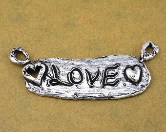 Handmade Love pendant, artisan handmade pendant charms 47x18mm, 1 piece