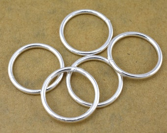 Silver Jump Rings - 20mm Closed silver plated jump-rings for jewelry making - large Round jump ring - jewelry findings 13 Gauge AWG 5pcs