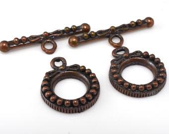 Dark Aged Copper toggle clasps, antique copper toggles for jewelry making 2 pairs -  18x15mm