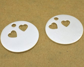 25mm round flat silver stamping blanks Disc with 2 heart cutouts, 18 Gauge / AWG made of solid Copper with a hole Real silver plated 2pcs