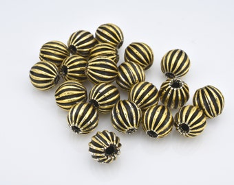 8mm Gold Color antique corrugated beads, large gold beads, antique gold tone beads 20 pcs