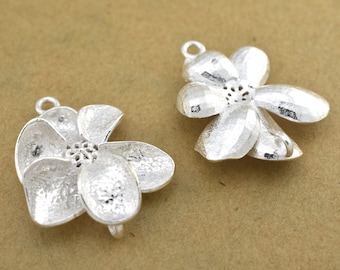 24mm Flower shape Earring connector, Silver Plated Earring Component, earring parts, dangle earring making 1 set