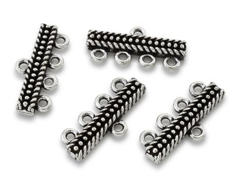 4 Strand Connector End Bar, 4 to 1 Strand Reducer Antique silver plated bracelet ends for jewelry making, necklace connector links 4 pieces