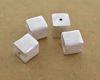 10mm - 4pc Silver plated Cube Beads, handmade Box Spacer beads, brushed square beads