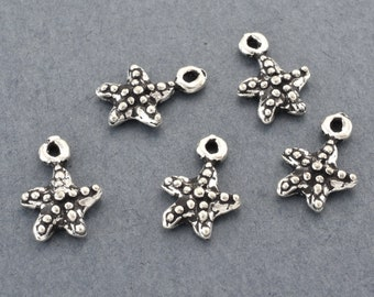 14mm - 2pcs Sterling Silver Starfish charms Pendant, 925 Silver Artisan Findings Marine Life Dangle Charms, antique silver Beach Findings