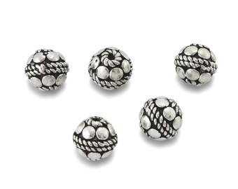 8mm Bali silver spacer beads for jewelry making, Round antique silver plated beads, metal spacer beads 5pcs