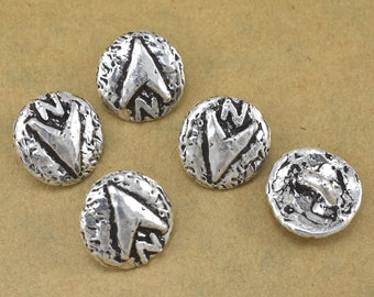 16mm  North face SIlver Button closures clasps with shank back, wrap jewelry, for Leather wrap bracelets, antique Silver jewelry findings