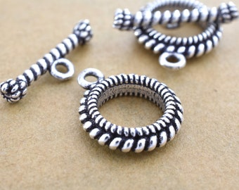 17mm - 1 set Bali Silver Toggle Clasps, Antique Sterling Silver clasps for jewelry making, solid silver closures clasps for necklaces