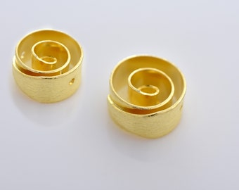 13mm - 2pcs Gold Vermeil Spiral design spacer beads, Gold Plated over 925 Solid Silver handmade Spacer beads, Bulk beads