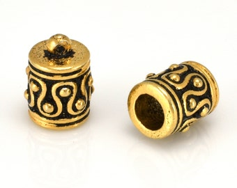 Gold Kumihimo End Caps, Antique Gold Plated with loop for leather cord, tassel caps, glue in End caps for jewelry making 5mm hole