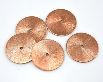22mm brushed Copper washer beads, flat spacer beads, brushed for jewelry making findings supply 5pcs