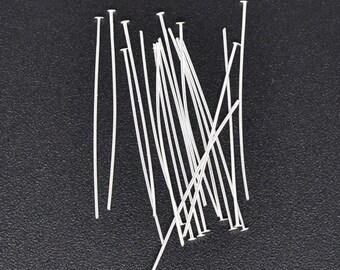 67pc silver plated flat top head pin, 24 Gauge, 52mm Long, 2 inches head pins