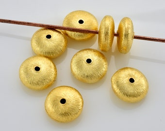 Brushed Gold Beads, Saucer beads 8pcs Gold Plated spacer Beads - 12mm