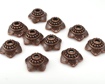 Antique copper bead caps 9mm flower bead caps dark copper plated for jewelry making 10pcs