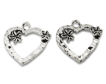 artisan findings, silver heart pendants charms for jewelry making, large silver heart pendants, silver plated heart 27x27mm / 2 pieces