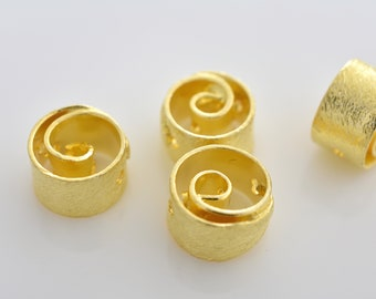 9mm - 4pcs Gold Vermeil Spiral design spacer beads, Gold plated over 925 Solid Silver handmade Spacer beads, Bulk beads