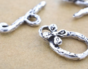20mm -2pc Artisan Sterling silver toggle clasps for necklaces, 925 solid silver flower clasps for bracelets, jewelry making closures Clasps