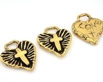 2 Artisan Findings Cross Gold Jesus Cross Pendant, Gold plated religious cross in heart charms, LOVE Jesus in heart charms 2pcs / 22x18mm