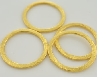 25mm - 4pc Connector Rings gold washers Artisan organic links, brushed gold plated washer Link charms, handmade jewelry making Circles