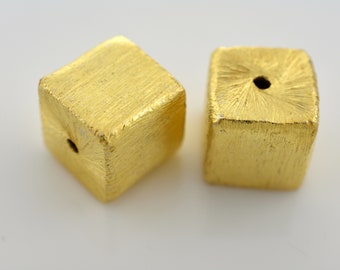 10mm - 2pc Gold plated Cube Beads, handmade Box Spacer beads, brushed square beads