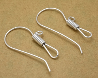 12pc silver plated ear wires for jewelry making, 35mm Long