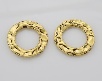 18mm Antique Gold Washer Links - Artisan Handmade - Gold Circles - Necklace washer - Connectors - 2pcs