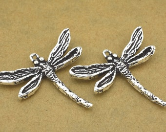 2 Dragonfly pendant charm, handmade antique silver plated, 28x30 mm