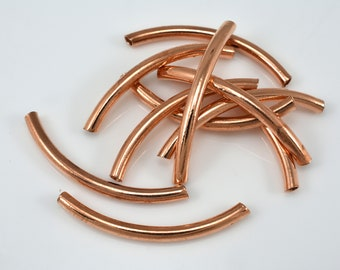 40mm Copper tube beads, curved peipe beads, curved tube beads, copper pipe beads, curved pipe beads 10pcs