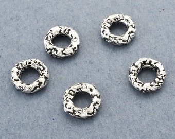 10mm Silver Plated Artisan link, round jewelry connector circle, distressed handmade jump ring charm washer, 5mm hole